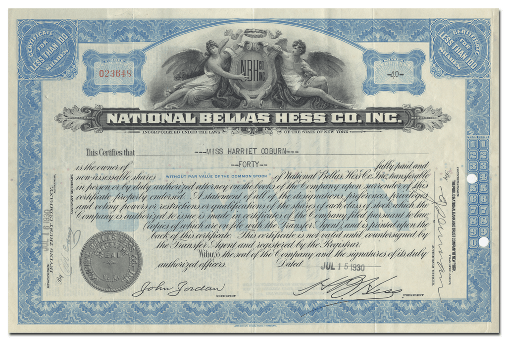 National Bellas Hess Co., Inc. Stock Certificate