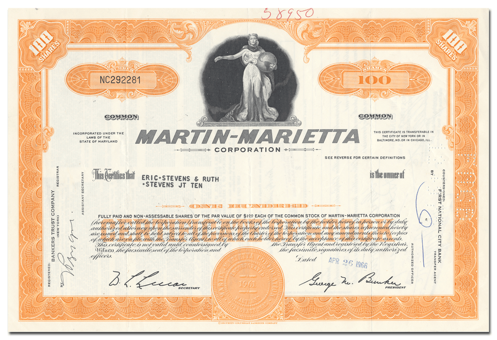 Martin-Marietta Corporation Stock Certificate