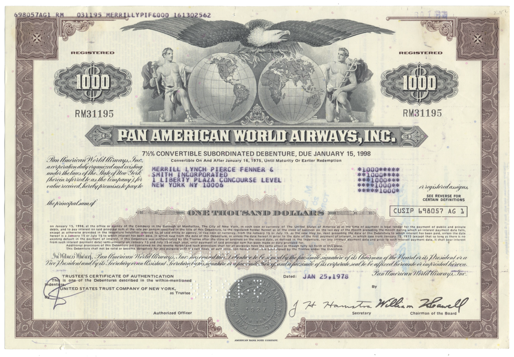 Pan American World Airways, Inc. Bond Certificate