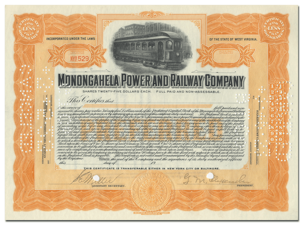 Monongahela Power and Railway Company Stock Certificate
