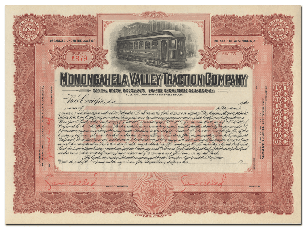 Monongahela Valley Traction Company Stock Certificate