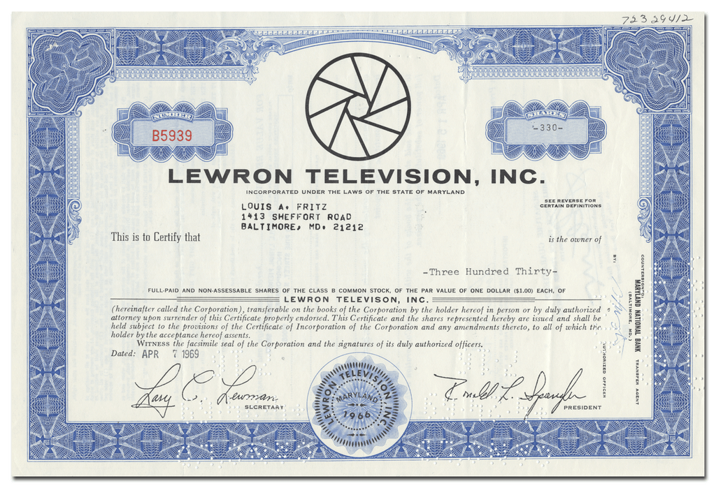 Lewron Television, Inc. Stock Certificate