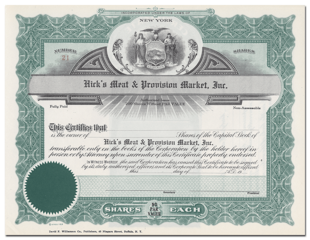 Hick's Meat & Provision Market, Inc. Stock Certificate
