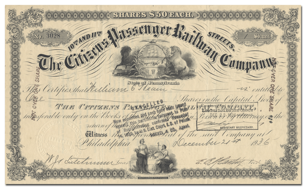 Citizens Passenger Railway Company Stock Certificate