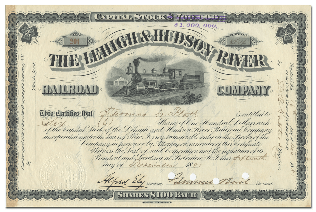 Lehigh & Hudson River Railroad Company Stock Certificate Signed by Thomas C. Platt