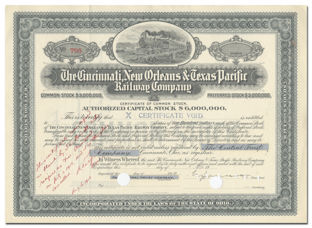 Cincinnati, New Orleans & Texas Pacific Railway Company Stock Certificate