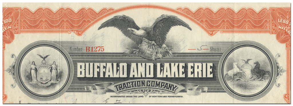 Buffalo and Lake Erie Traction Company Stock Certificate