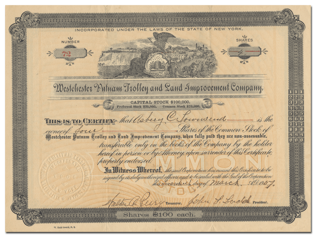 Westchester Putnam Trolley and Land Improvement Company Stock Certificate
