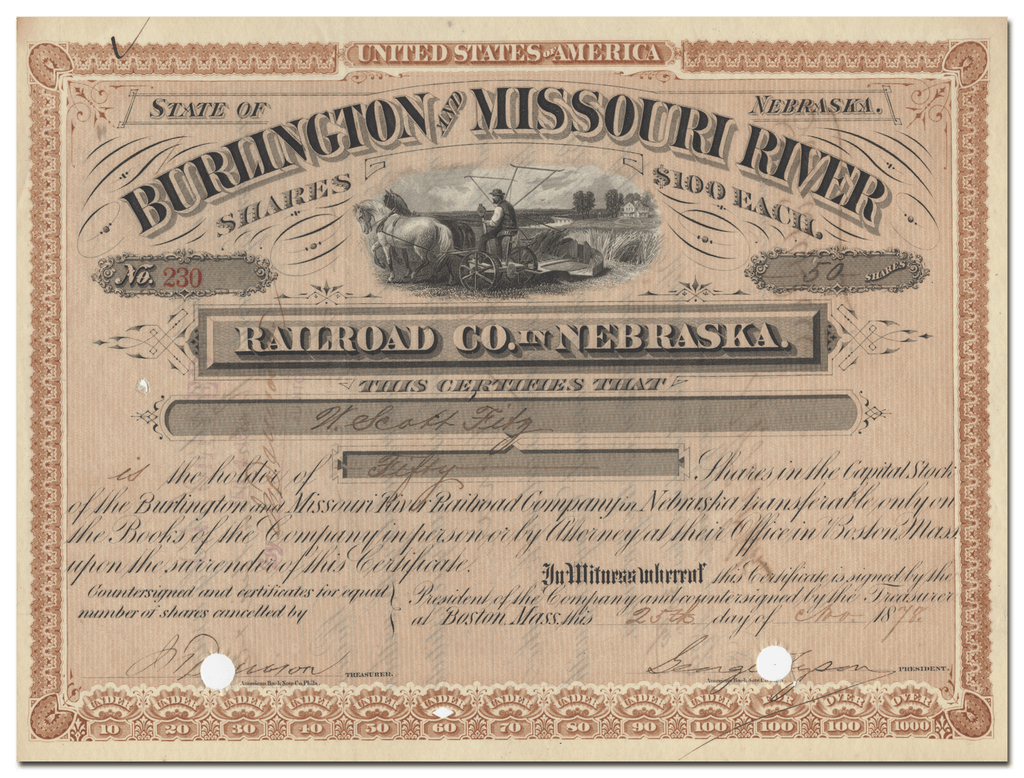 Burlington and Missouri River Railroad Company in Nebraska Stock Certificate