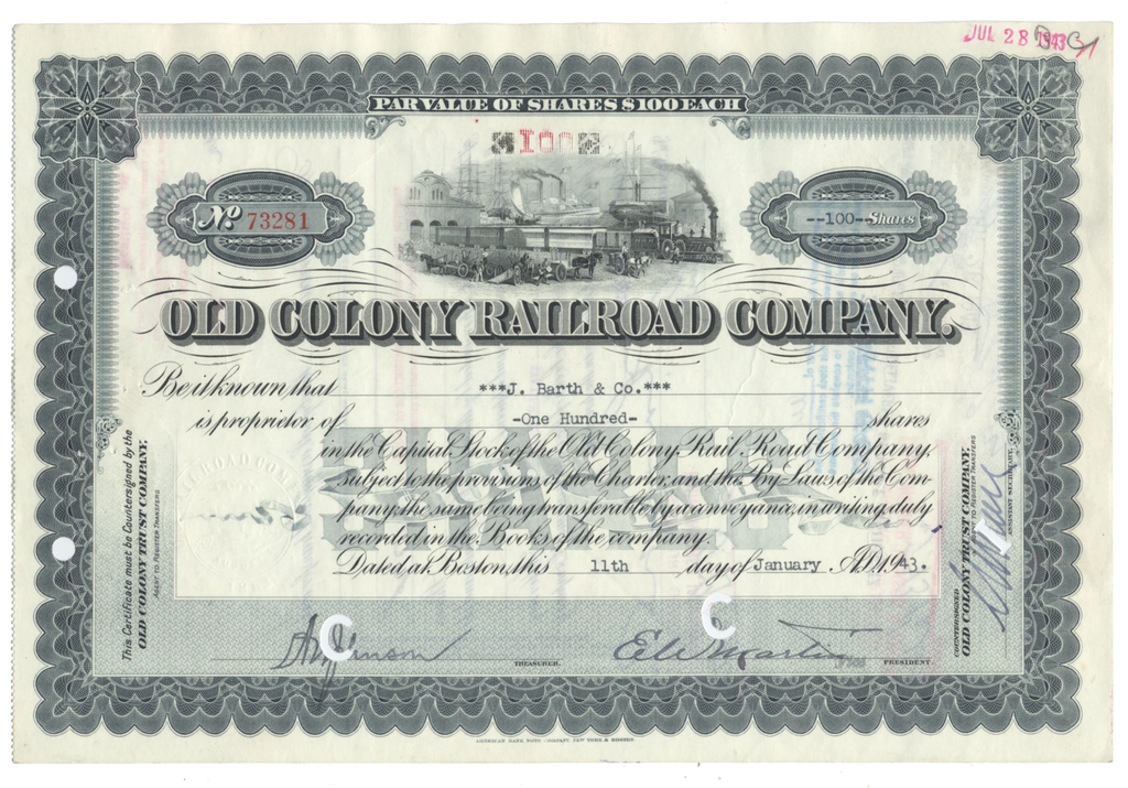 Old Colony Railroad Company Stock Certificate