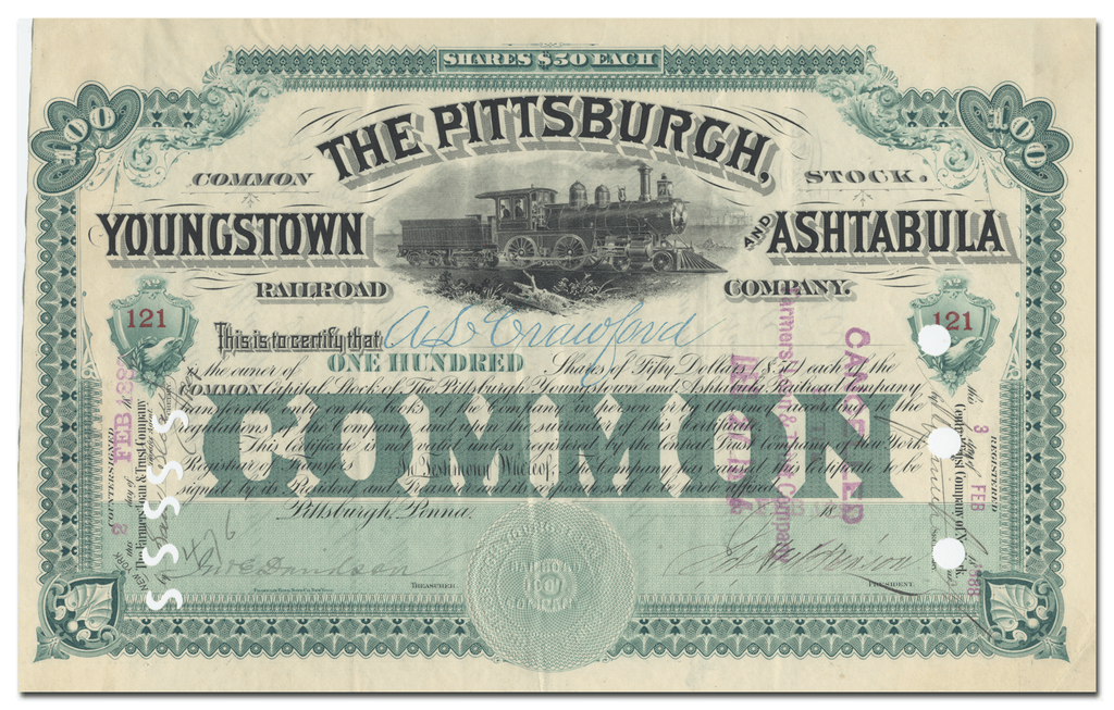 Pittsburgh, Youngstown and Ashtabula Railroad Company Stock Certificate