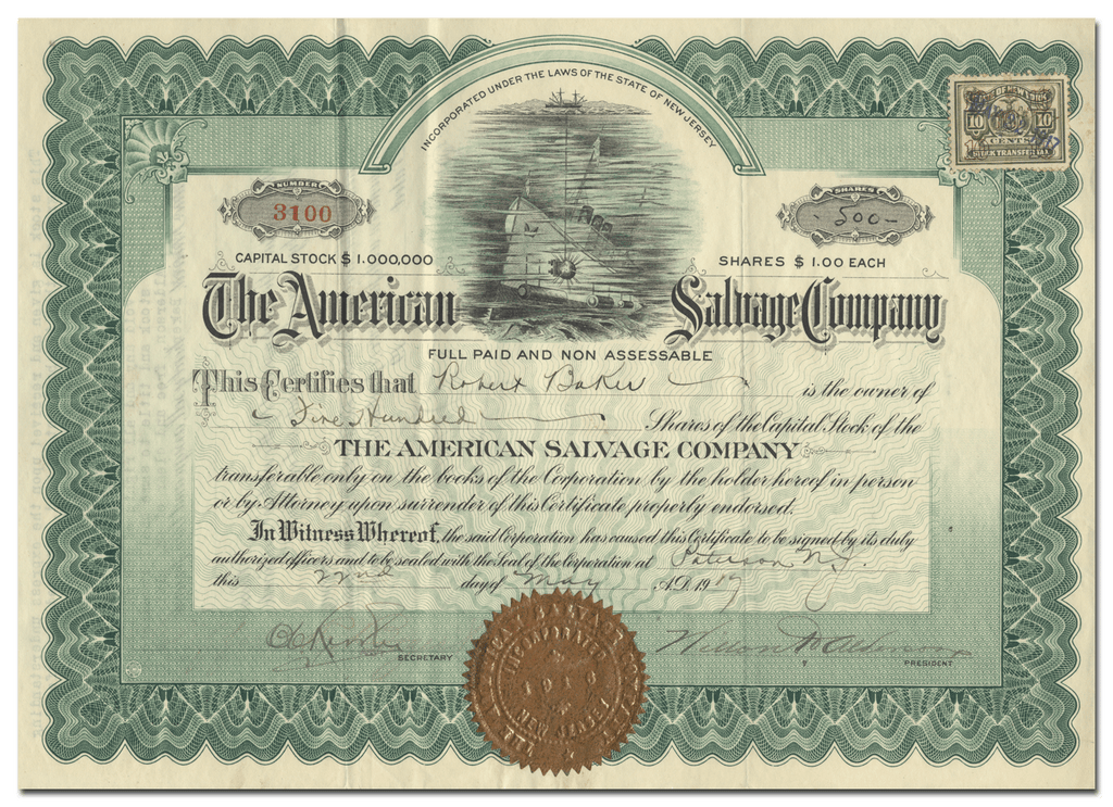 American Salvage Company Stock Certificate