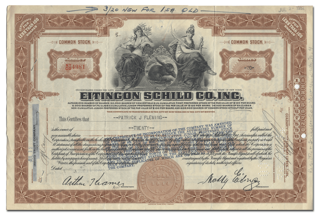 Eitingon Schild Co. Inc. Stock Certificate