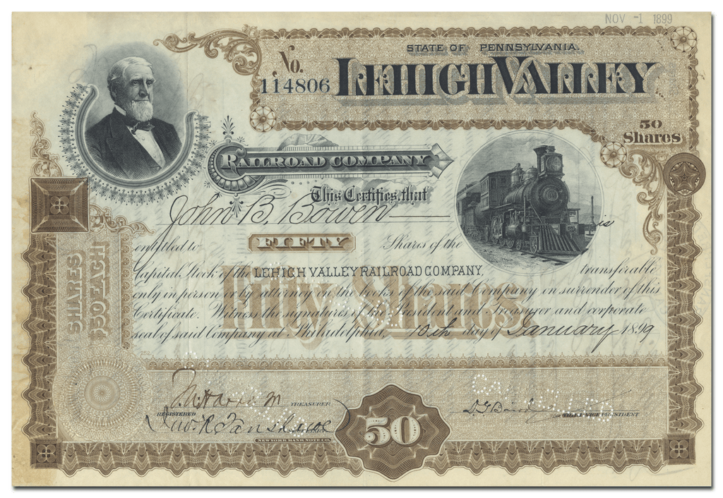 Lehigh Valley Railroad Company Stock Certificate