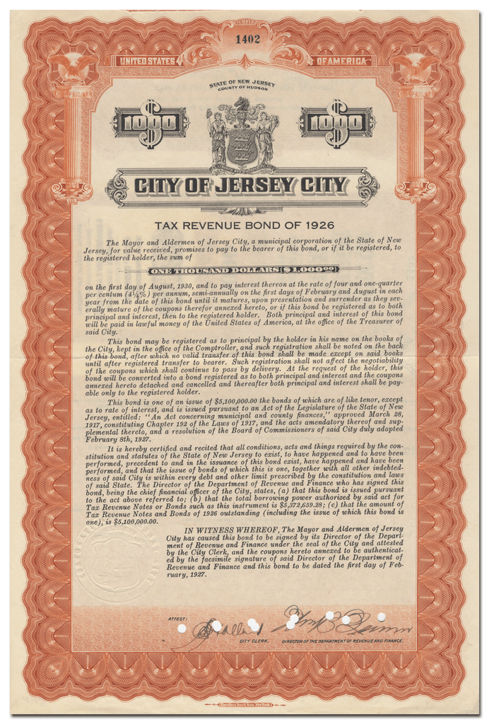 City of Jersey City, New Jersey Bond Certificate