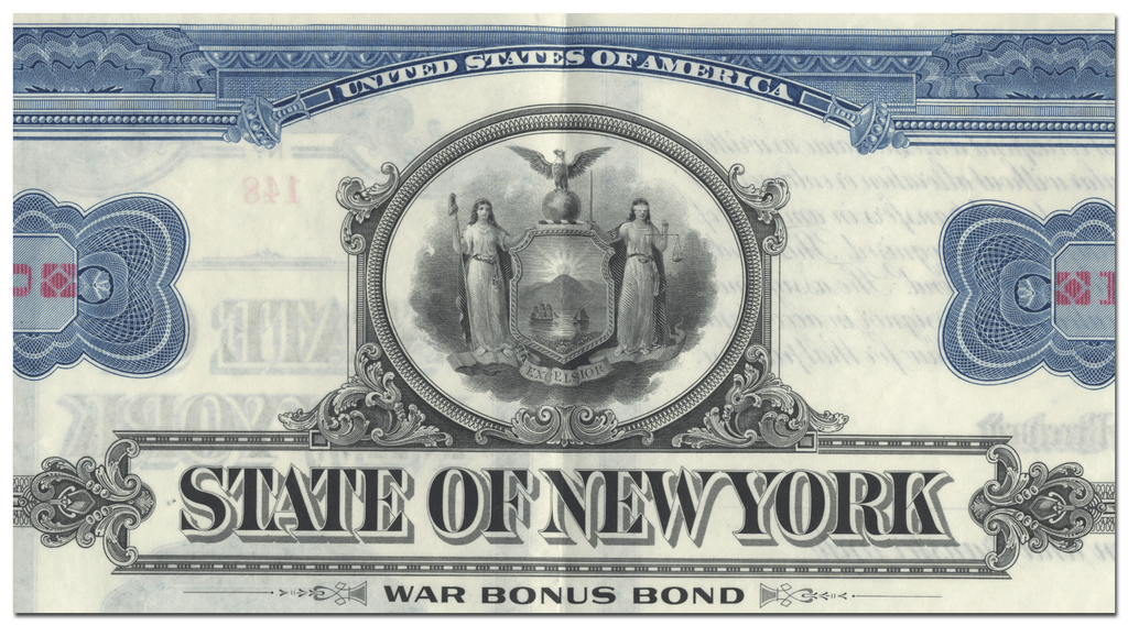 State of New York War Bonus Bond Certificate