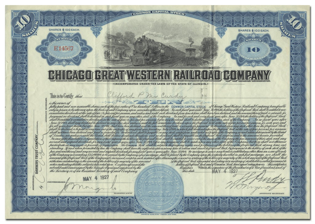 Great Western Railroad Company Stock Certificate