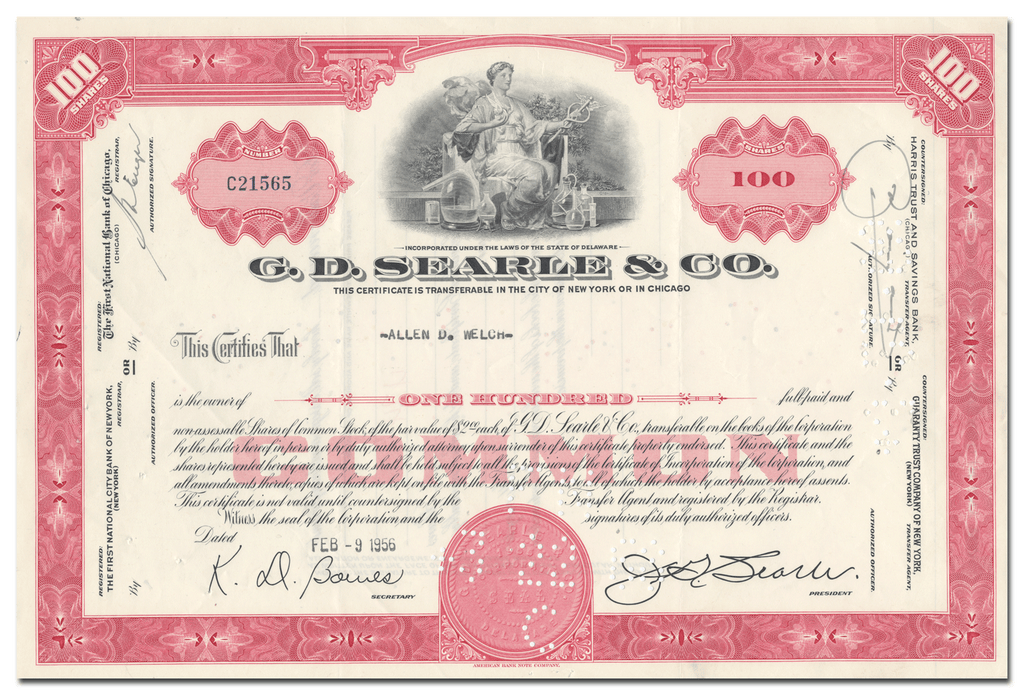 G. D. Searle & Co. Stock Certificate