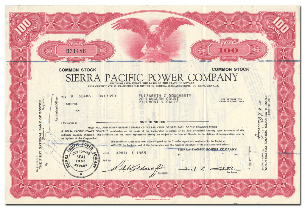 Sierra Pacific Power Company Stock Certificate