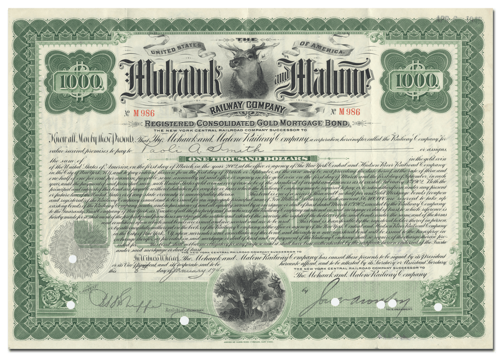 Mohawk and Malone Railway Company Bond Certificate