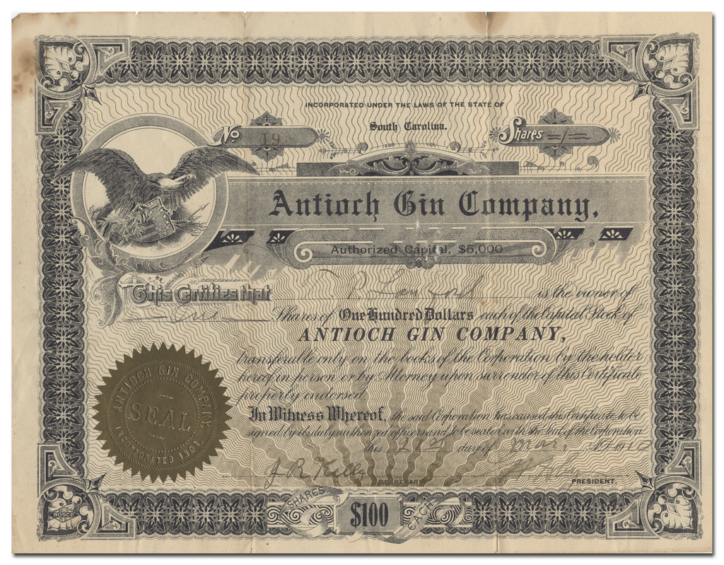 Antioch Gin Company Stock Certificate