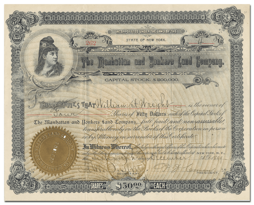 Manhattan and Yonkers Land Company Stock Certificate
