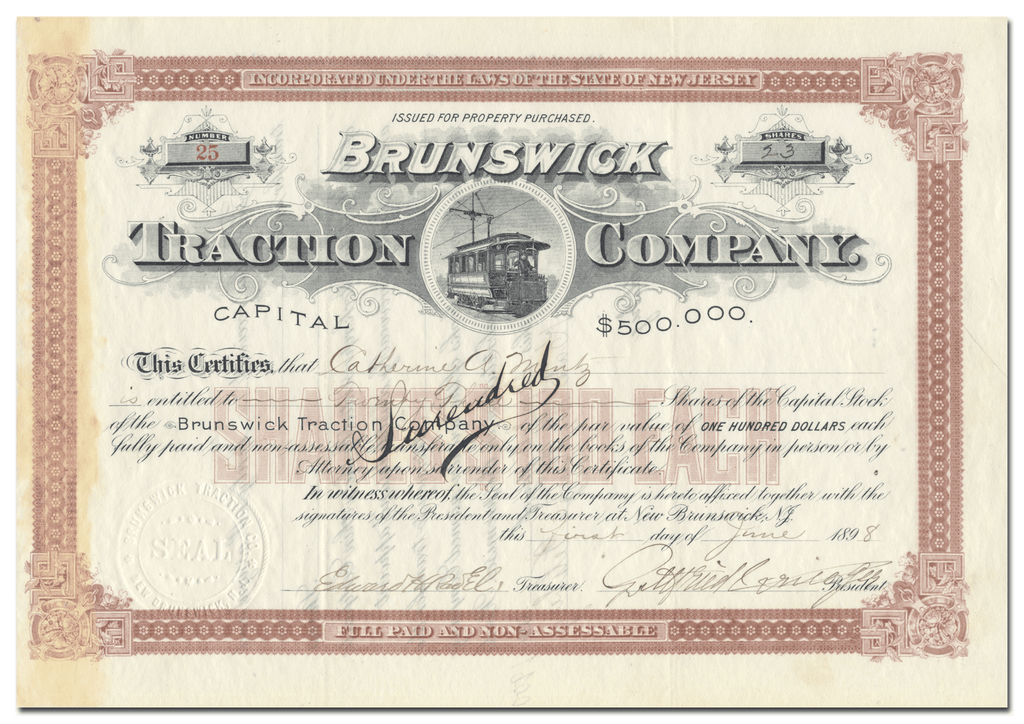 Brunswick Traction Company Stock Certificate