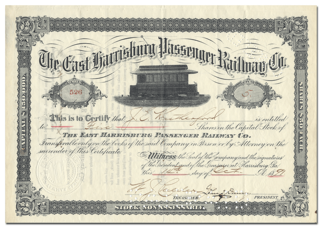 East Harrisburg Passenger Railway Co. Stock Certificate