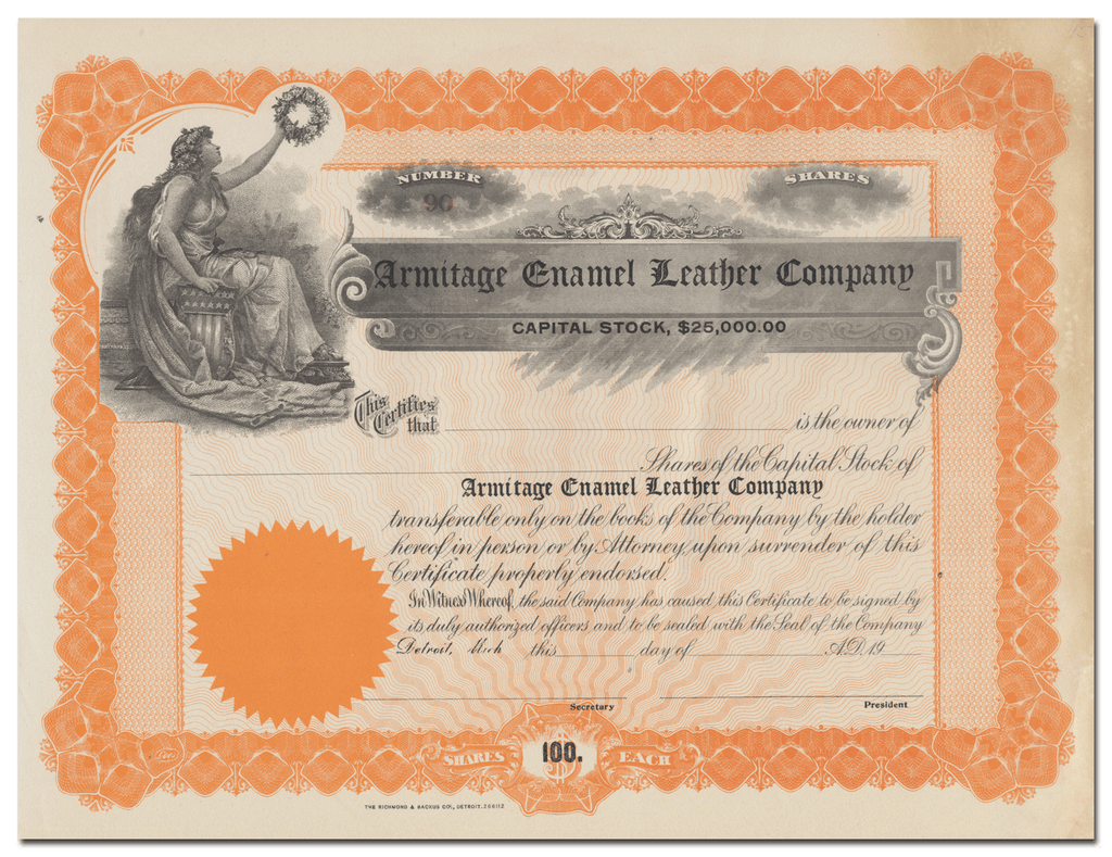 Armitage Enamel Leather Company Stock Certificate