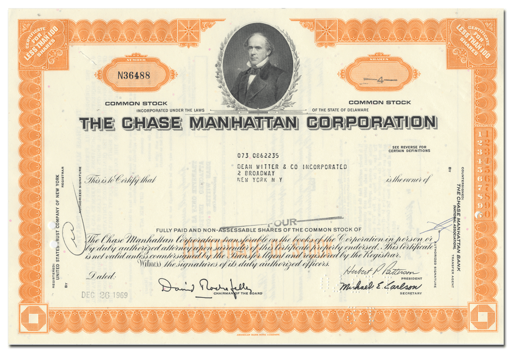 Chase Manhattan Corporation Stock Certificate