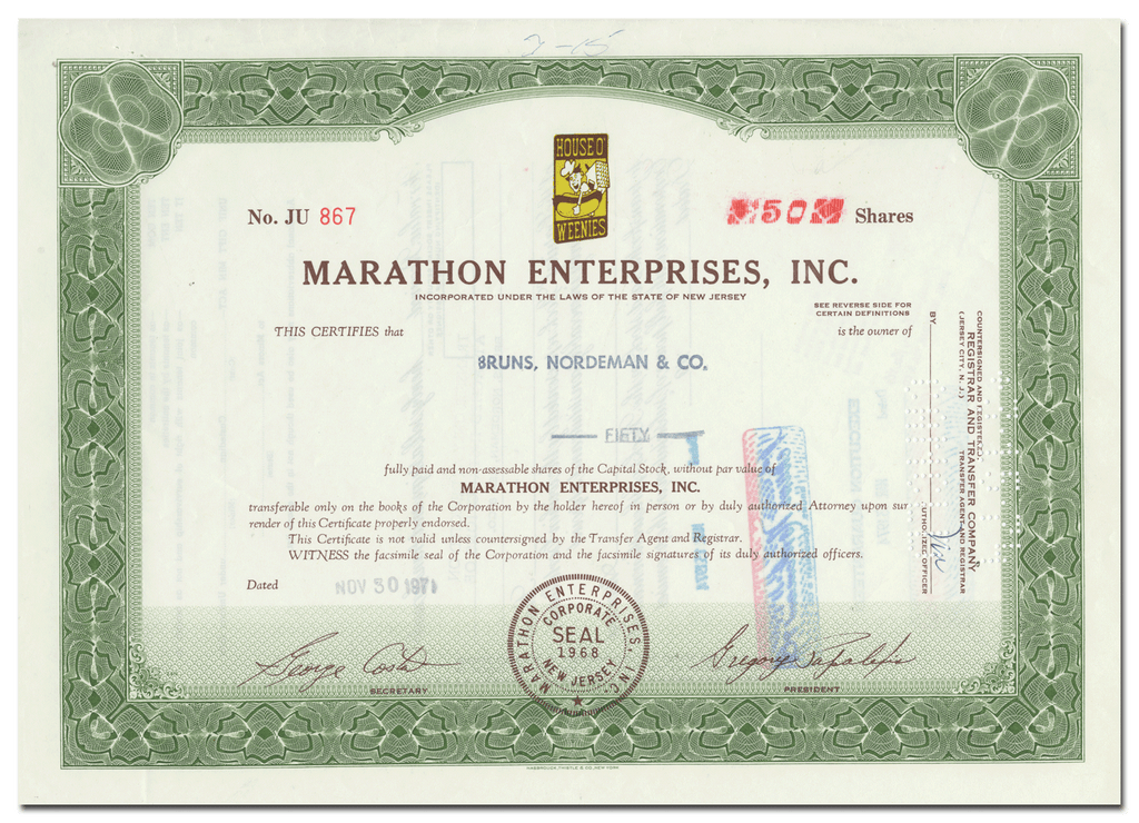 Marathon Enterprises, Inc. Stock Certificate