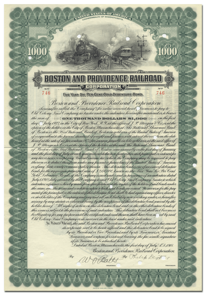 Boston and Providence Railroad Corporation Bond Certificate