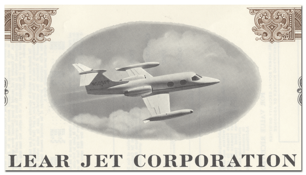 Lear Jet Corporation Specimen Bond Certificate