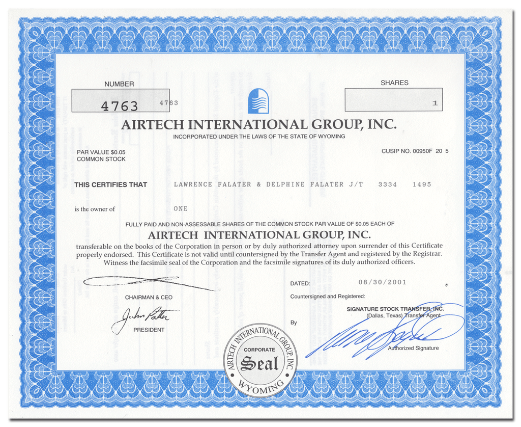Airtech International Group, Inc. Stock Certificate