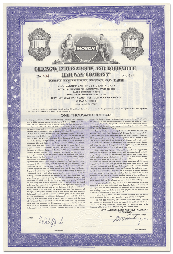 Chicago, Indianapolis and Louisville Railway Company Bond Certificate