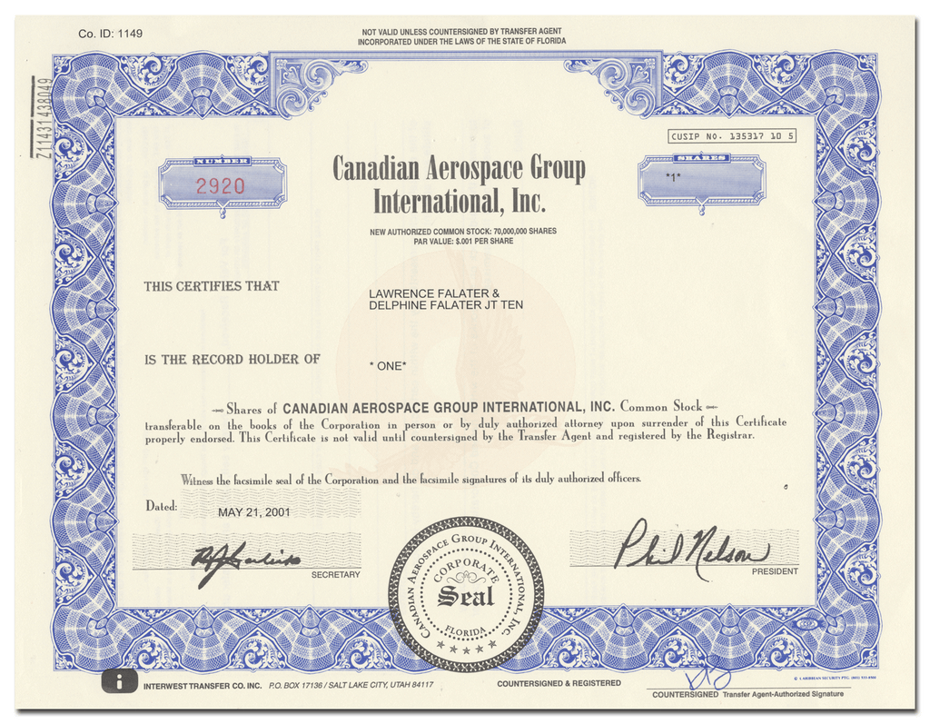 Canadian Aerospace Group International, Inc. Stock Certificate