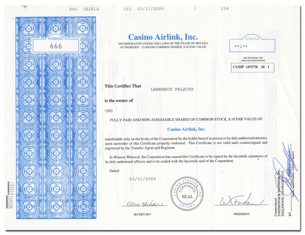 Casino Airlink, Inc. Stock Certificate