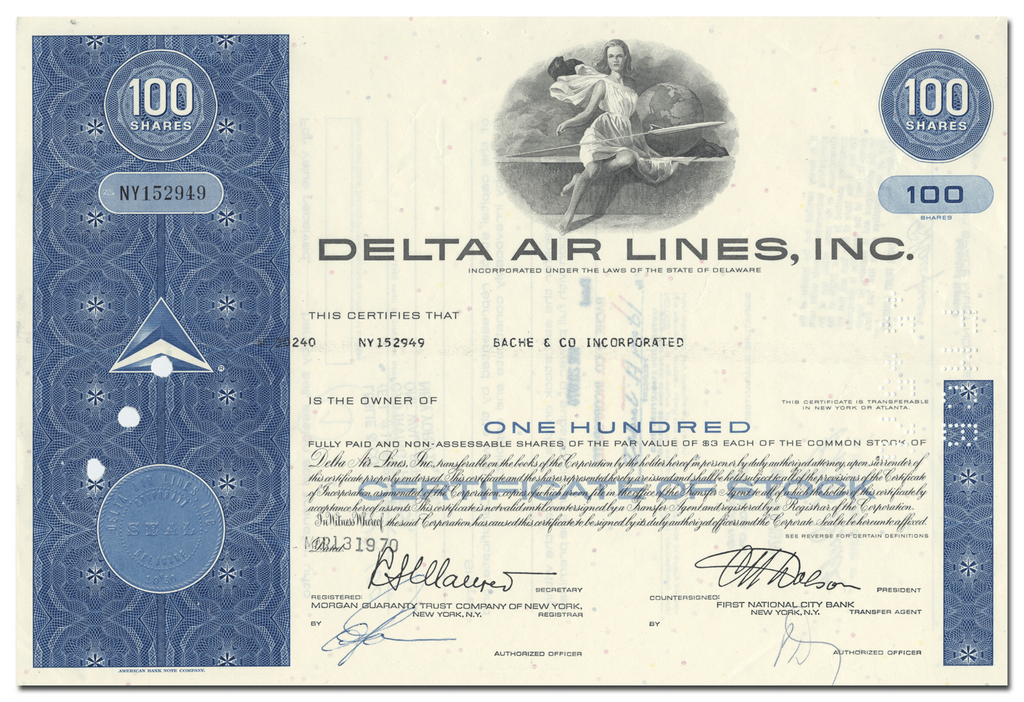 Delta Air Lines, Inc. Stock Certificate