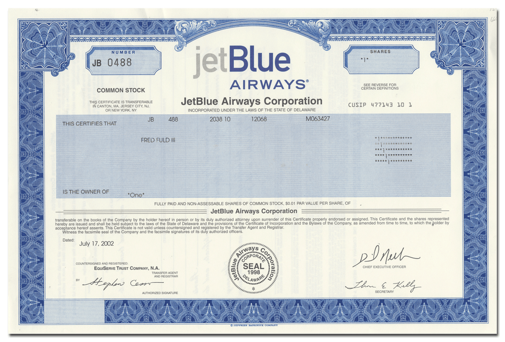 JetBlue Airways Corporation Stock Certificate