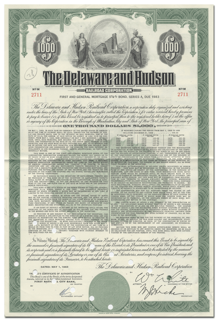 Delaware and Hudson Railroad Corporation Bond Certificate