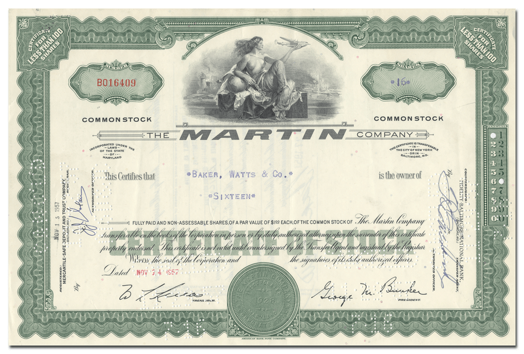 The Martin Company Stock Certificate
