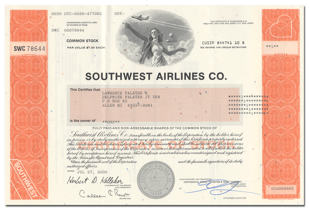 Southwest Airlines Co. Stock Certificate