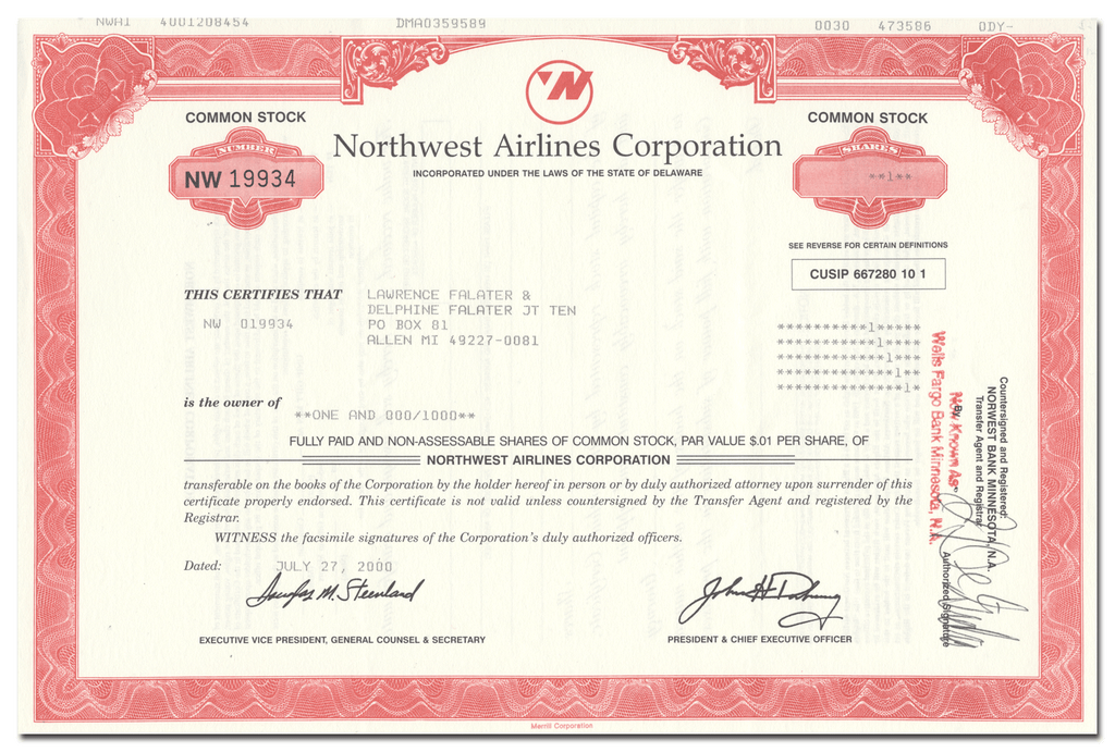 Northwest Airlines Corporation Stock Certificate