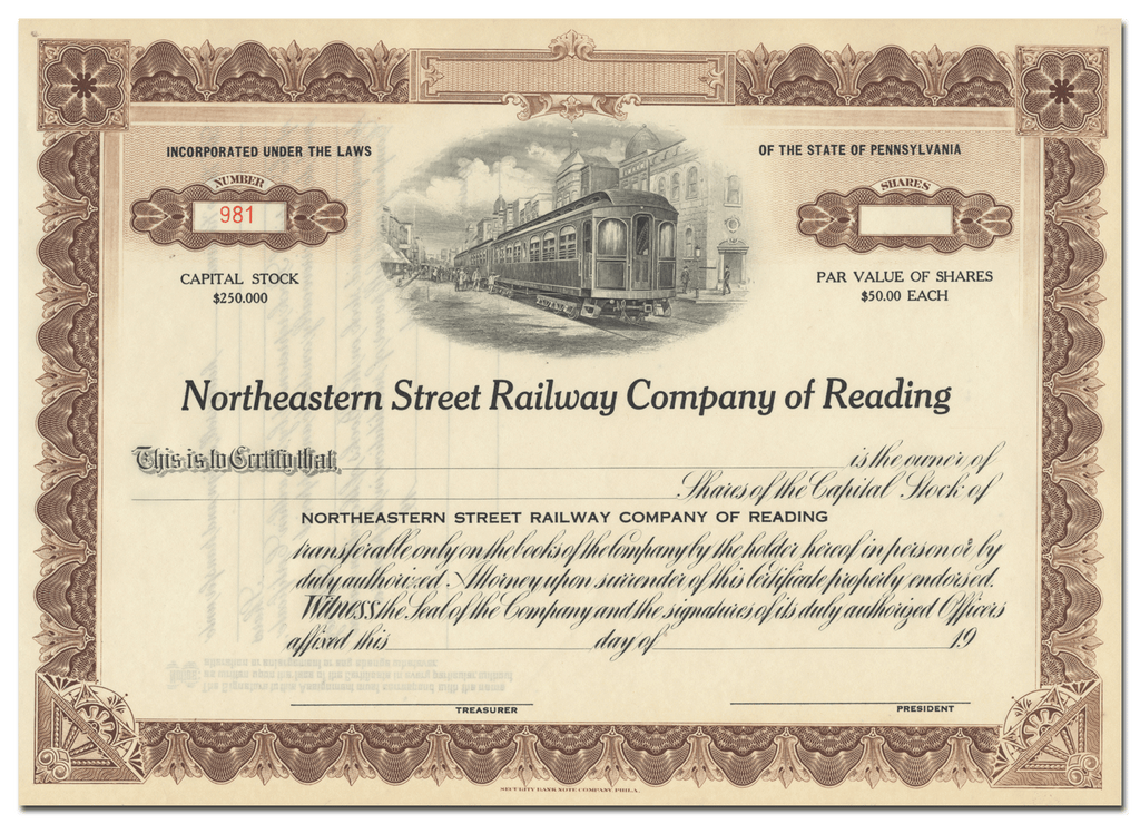 Northeastern Street Railway Company of Reading Stock Certificate