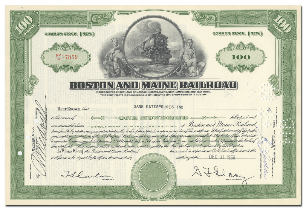 Boston and Maine Railroad Stock Certificate