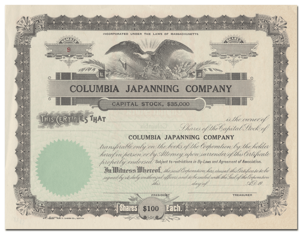 Columbia Japanning Company Stock Certificate