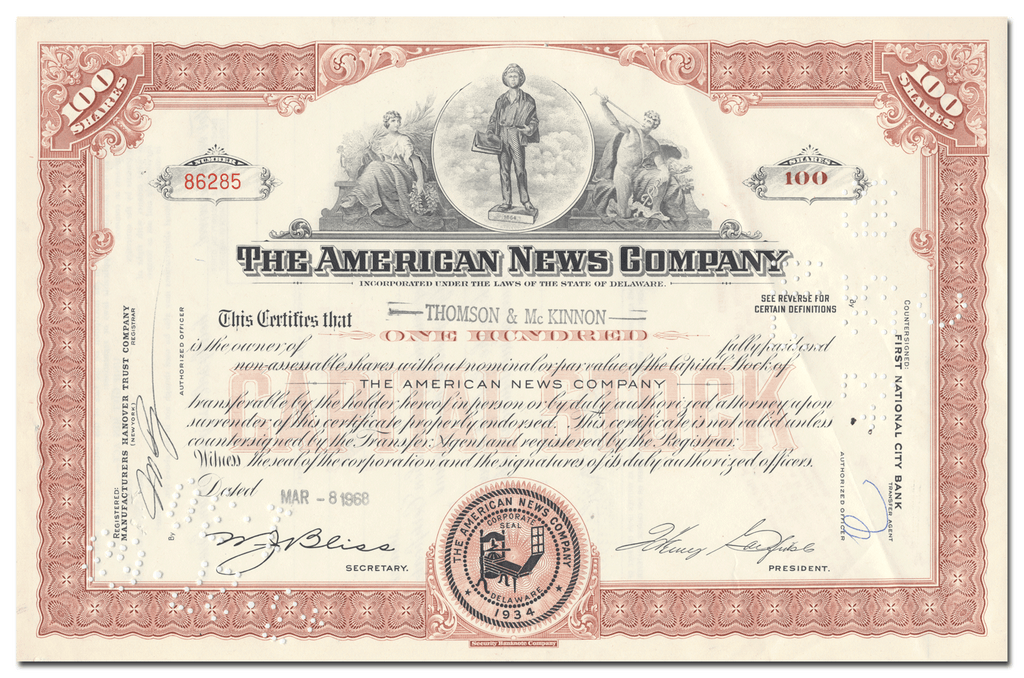 American News Company Stock Certificate
