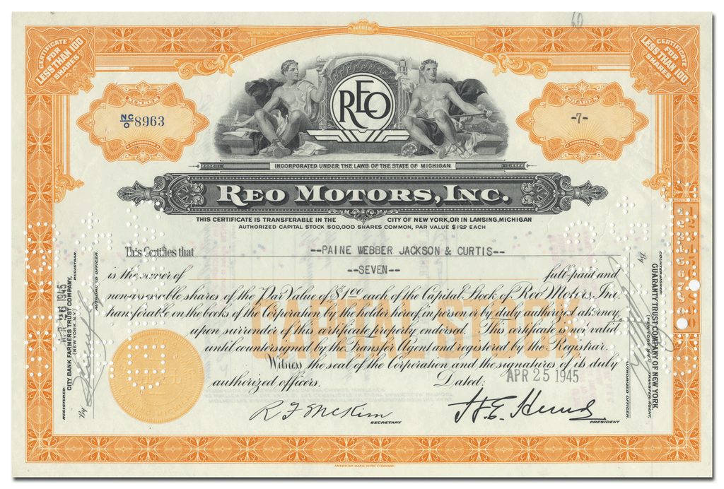 Reo Motors, Inc. Stock Certificate
