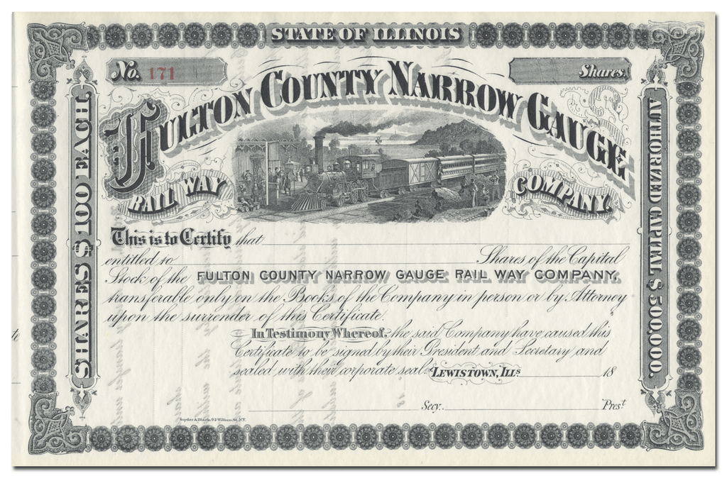 Fulton County Narrow Gauge Rail Way Company Stock Certificate