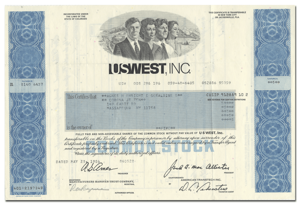 US West, Inc. Stock Certificate